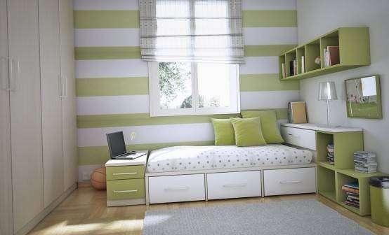 quarto de solteiro verde