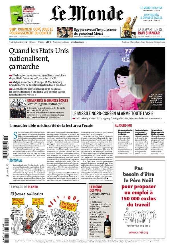 Le Monde et Suppléments Jeudi 13 Décembre 2012