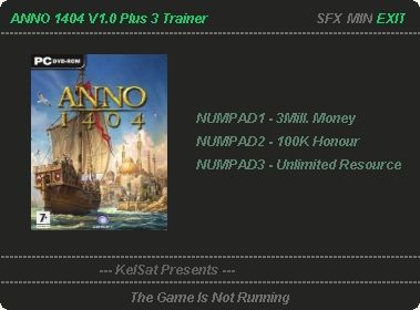 Strategy game Anno 1404 you can benefit from these cheats: 3 million mon