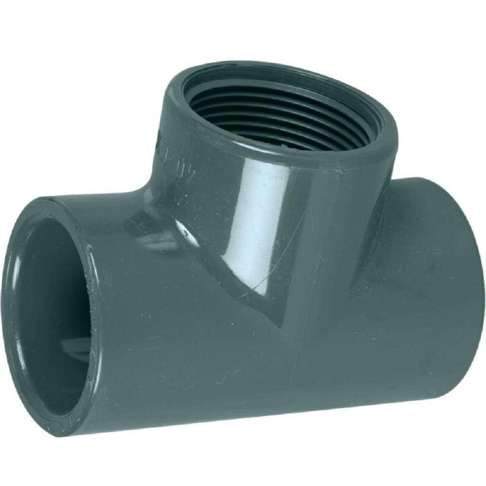 Te pvc 50 x 1 1 2 x 50 f taraud coller pression for Raccord pvc piscine 50