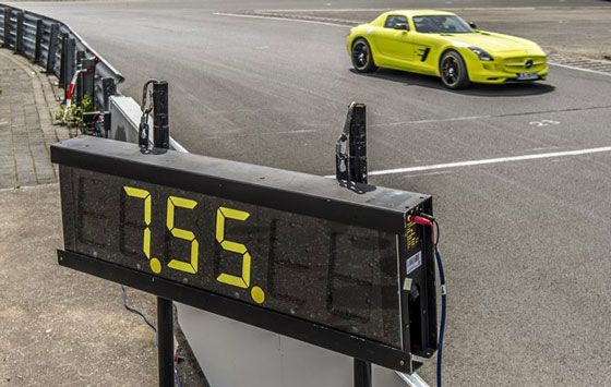 Mercedes-Benz SLS AMG Electric Drive setting a record lap in Nürburgring Nordschleife